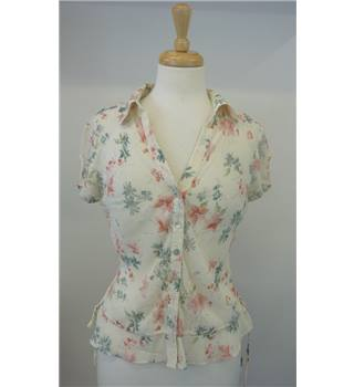 Kaliko size 14 cream with pink flower detail silk sheer blouse Kaliko - Size: 14 - Cream / ivory