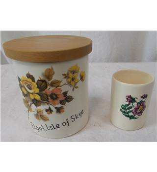 New Devon Pottery Retro Cannister and Small Pot
