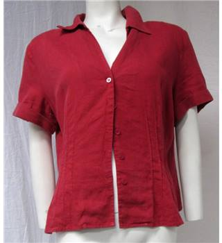 Red Linen Shirt Size 18 Precis Petite - Size: 18 - Red