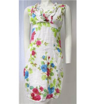 Linen White Floral Dress Size M Voulez Vous - Size: M - Multi-coloured