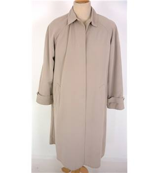 "M & S Size: 14, 37"" chest, 3/4 length Light Khaki Brown Classic/Stylish Polyester Raincoat"