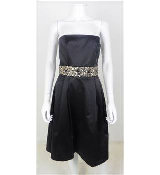 Zara Size S Black Strapless Gold Embellished Dress