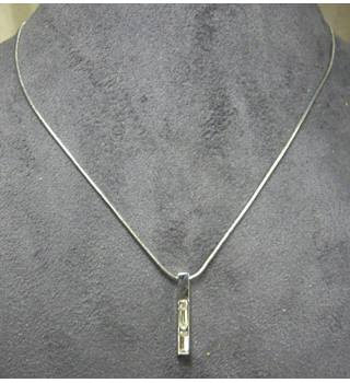 Necklace, silver chain with silver pendant containing 2 sparkling 'gems' M&S Marks & Spencer - Size: Medium - Metallics - Chain