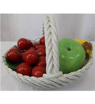 Italian Pottery Large Weaved Fruit Basket