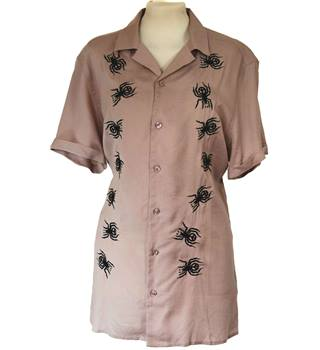 Asos 50's Style Spider Embroidered Shirt Size M Dusty Pink