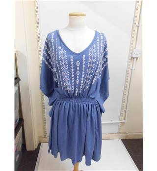 women's m&s collection blue v-neck loose dress M&S Marks & Spencer - Size: 10 - Blue - Summer