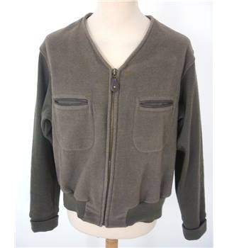 "Armani Size: L, 42"" Chest Beaver Brown Casual/Stylish Military V Neck Ribbed Long Sleeve Wool Blend Designer Cardigan"