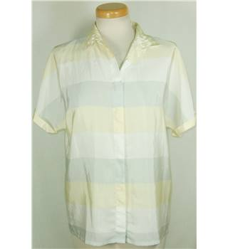 Jaques Vert size 12 Yellow, White and Grey Polyester Blouse