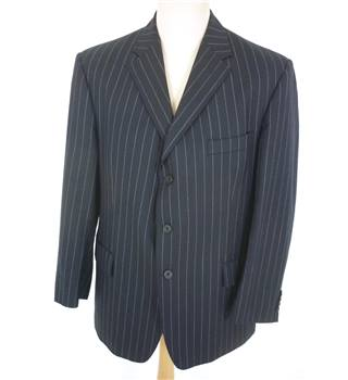 "Ede & Ravenscroft Size:Jacket, 44"" chest, reg fit &Trousers, 38"" waist, 29"" inside leg Blue Stylish Wool Single Breasted Suit"
