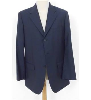 "Massimo Dutti Size 42"" Chest Blue Pinstripe Wool Suit"
