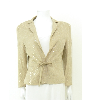 Louis Feraud Size 14 Stunning Ivory and Translucent Flower Sequin Blazer