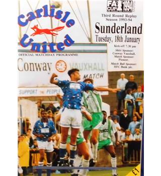 Carlisle United v Sunderland - FA Cup 3rd Round Replay - 18th January 1994