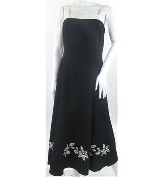 Jacques Vert - size 12, black sleeveless dress with embroidered flower detail