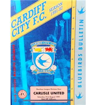 Cardiff City v Carlisle United - Division 4 - 31st August 1991