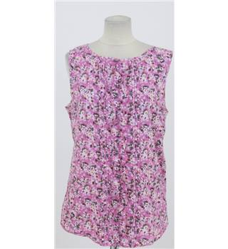Debenhams: Size 16: Pink floral mix cotton blouse
