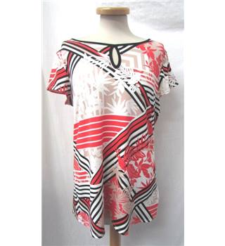 Wallis - Size: 14 - Red Stripe and White Floral- Short Sleeved Top