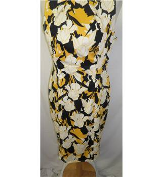 F & F - Size 14 - Yellow / black / white floral - Knee length dress