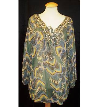 BNWT Monsoon Size M  Multi coloured beaded plunging neckline Blouse
