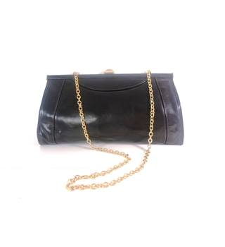Vintage 1960s Black Leather Handbag