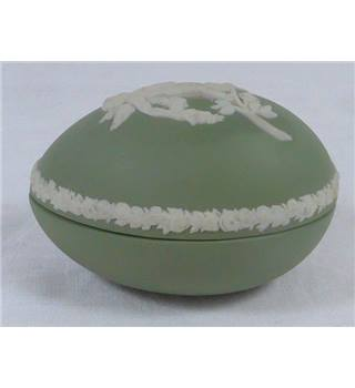 Jasperware egg shaped trinket box by