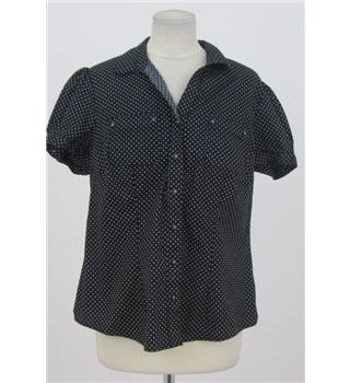 M&S Marks & Spencer - Size: 18 - Black with white dot pattern blouse
