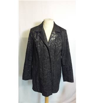 Floral Black Jacket SIze 2 by Chicos Chicos - Size: M - Black