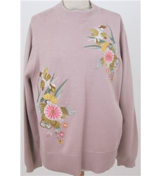 NWOT Per Una Size:16 beige embroidered sweater