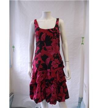 Monsoon size 12 pink and black silk dress