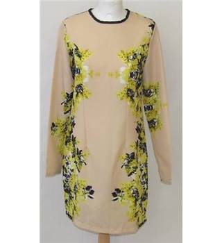 Retro Asos Size 12 Biege with Yellow and Grey Floral Styled Dress