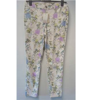 BNWT Monsoon Size 14 Cream Floral Jeans