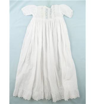 Victorian / Edwardian baby size white cotton Christening  Dress  -  doll or teddy wear