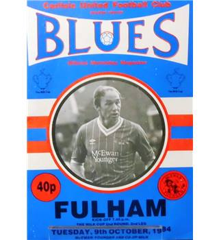 Carlisle United v Fulham - Division 2 - 9th October 1984