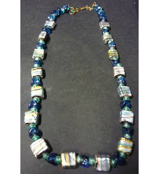 glass blue beaded necklace with shimmering silver and brown square beads, modern appearance Unbranded - Multi-coloured