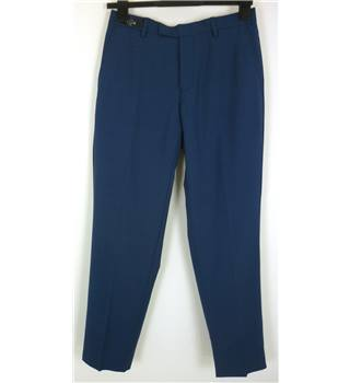 "M & S Size: XS, 28"" waist, 31"" inside leg Cobalt Blue Stylish Pure New Wool ""Savile Row Inspired"" Super 130 Flat Front Trousers"