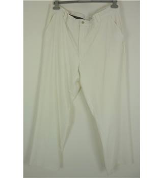 "Nike Size: L, 36"" waist, 30"" inside leg Creamy White Casual/Sports Polyester Blend ""Dri Fit"" Flat Front Golf Trousers"