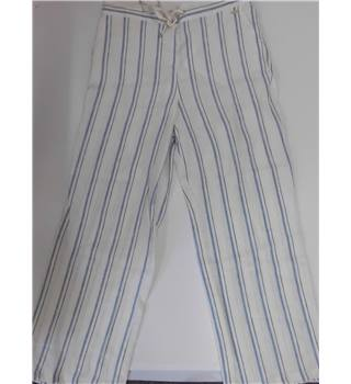 "WOMENS BNWT PerUna Roma ivory linen trousers size 14 with blue and brown stripes Per Una - Size: 35"" - Cream / ivory - Trousers"