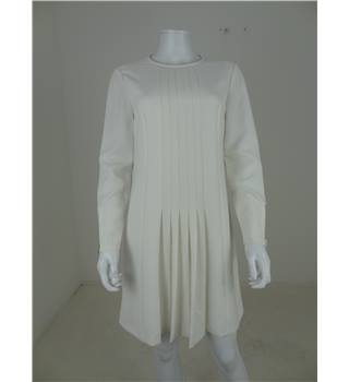 Ted Baker Size 10 Cream Front Detail Pleat Dress