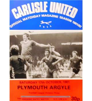 Carlisle United v Plymouth Argyle - Division 3 - 17th October 1981