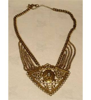 Golden Statement Necklace With stones Unbranded - Size: Small - Metallics