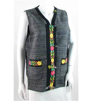Unbranded size: 14 grey and green with floral embroidery wool waistcoat