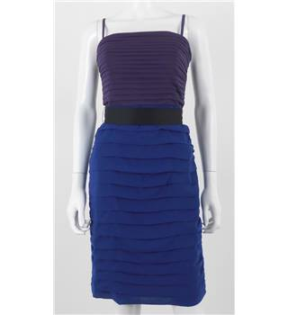 Coast Size 10 Eggplant Purple and Royal Blue Midi Pencil Dress With Black Belt