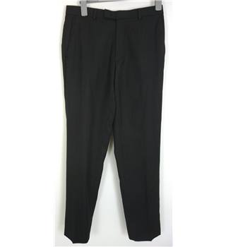 "Austin Reed Size: M, 32"" waist, 32"" inside leg Dark Grey Smart/Stylish Wool Designer Straight Leg Flat Front Trousers"