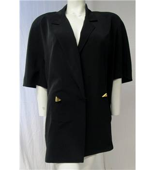 Windsmoor Vintage Black Jacket with Gold Triangular Button Feature Size 14 Windsmoor - Size: 14 - Black