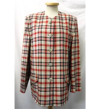 Alexon - Size: 16 - Beige with black and red check - Casual jacket