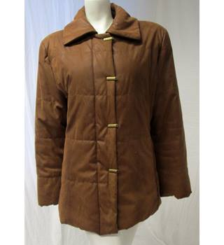 Snakeskin Effect Jacket With Zip and Unusual Brass Fastenings Unbranded - Size: 16 - Brown - Smart jacket / coat
