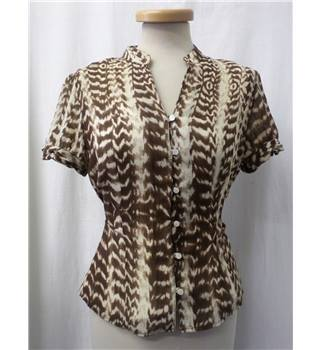 Petites - Size: 12 - Brown and beige animal print - Short sleeved shirt