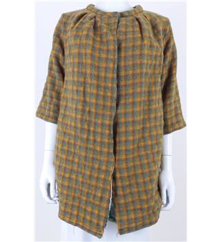 Vintage Circa 1970's Unbranded Size: L Handmade Orange, Green and Brown Checked Jacket
