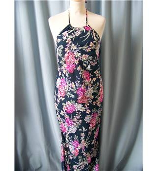 NWOT M&S Rosie for Autograph - Size: 6 - Navy with Bright Colourful Floral Halter Neck Dress