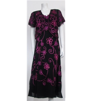 Joanna Hope, Size 12, Black with Pink Floral Detail Bolero and Dress.
