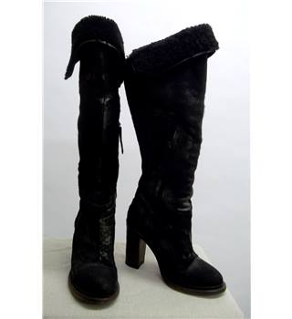Ugg size 6 black knee-high leather boots